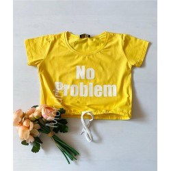 Tricou dama ieftin din bumbac galben cu snur cu imprimeu No problem