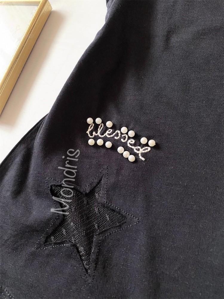 Tricou dama bumbac fin 100% negru cu maneca scurta si imprimeu blessed