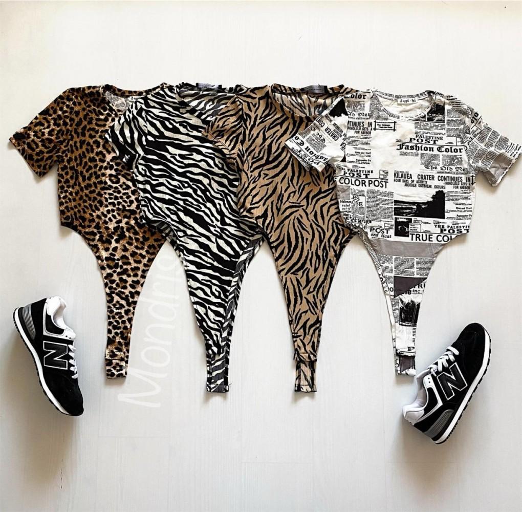 Body dama ieftin bumbac maro decupat lateral cu imprimeu Zebra