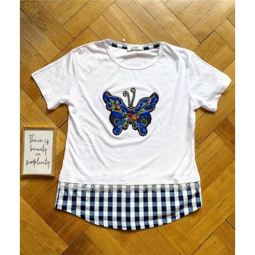 Tricou dama bumbac fin 100% alb cu albastru cu imprimeu fluture