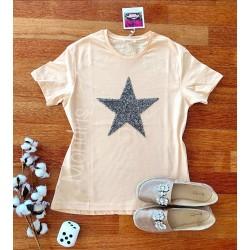 Tricou dama bumbac fin 100% roz pal cu maneca scurta si imprimeu din paiete STAR