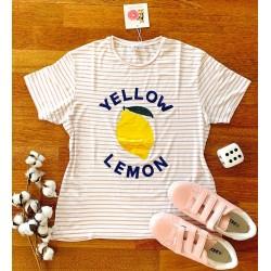 Tricou dama bumbac fin 100% alb cu roz cu dungi si imprimeu YELLOW LEMON
