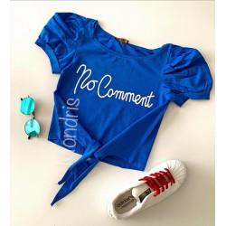 Tricou dama ieftin din bumbac albastru cu snur si maneci bufante si imprimeu No comment