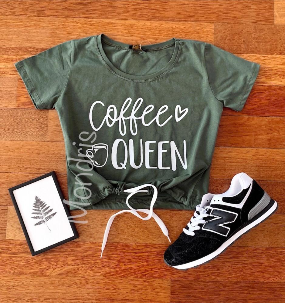 Tricou dama ieftin din bumbac khaki cu imprimeu Coffee Queen