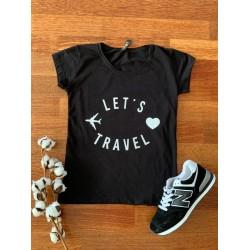 Tricou dama ieftin din bumbac negru cu imprimeu Let's travel