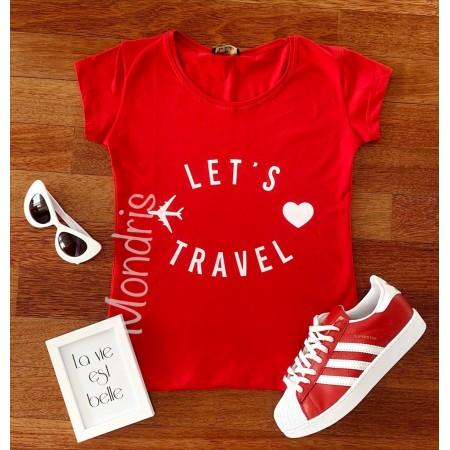 Tricou dama ieftin din bumbac rosu cu imprimeu Let's travel
