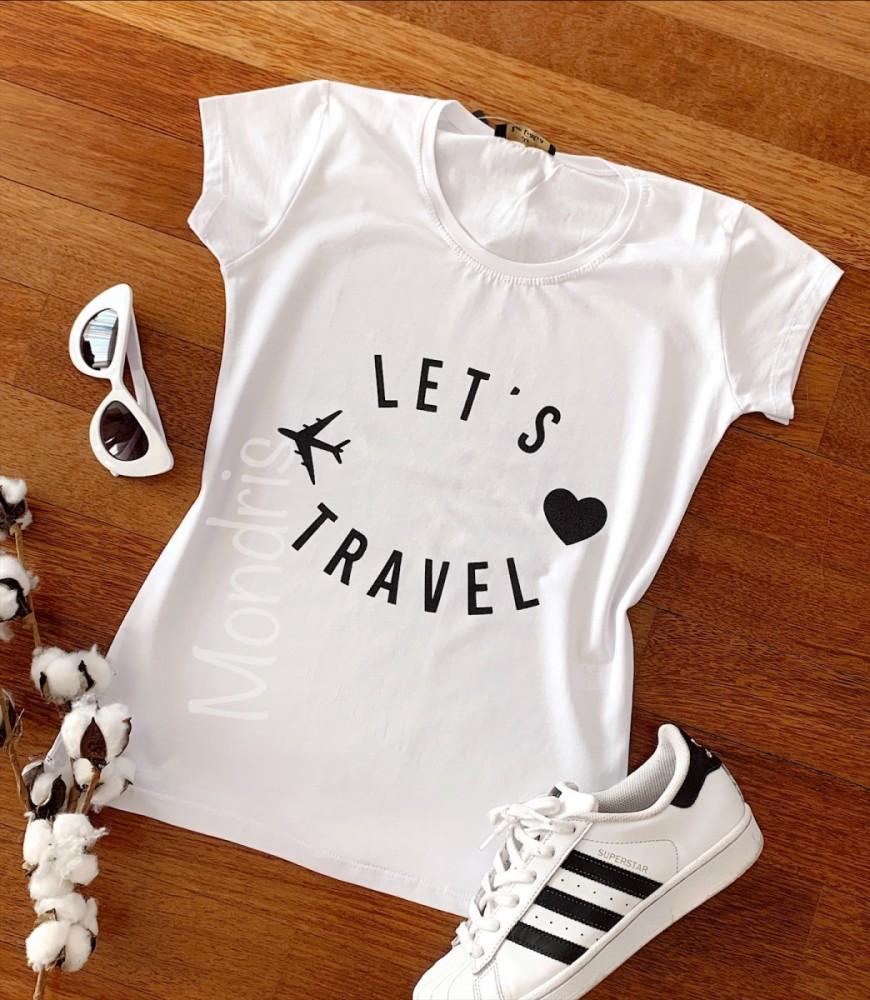 Tricou dama ieftin din bumbac alb cu imprimeu Let's travel