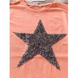 Tricou dama bumbac fin 100% roz cu maneca scurta si imprimeu din paiete STAR