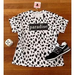 Tricou dama bumbac fin 100% alb cu modele geometrice negre cu imprimeu Paradise