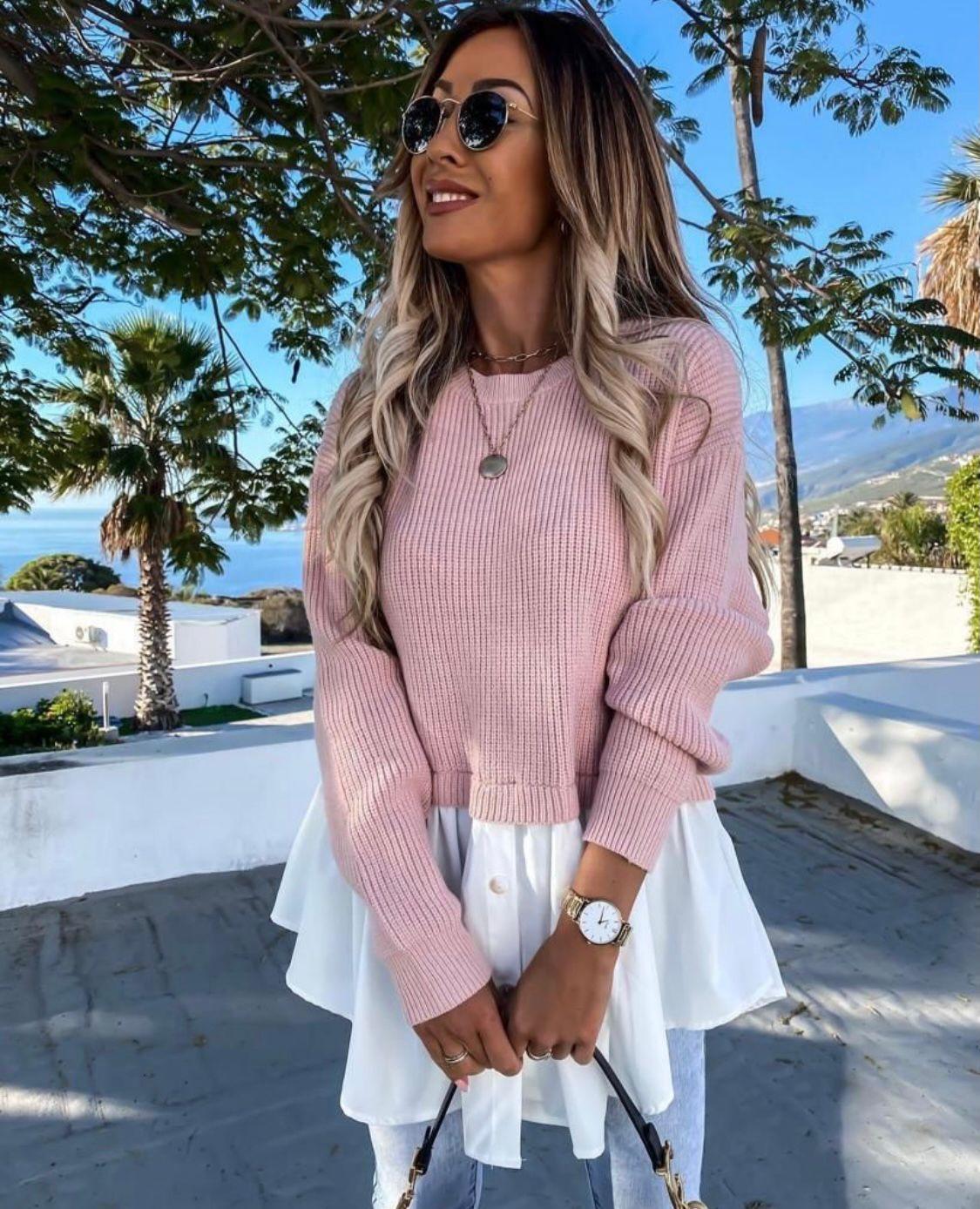 Pulover dama 2 in 1 din tricot si bumbac roz stil camasa