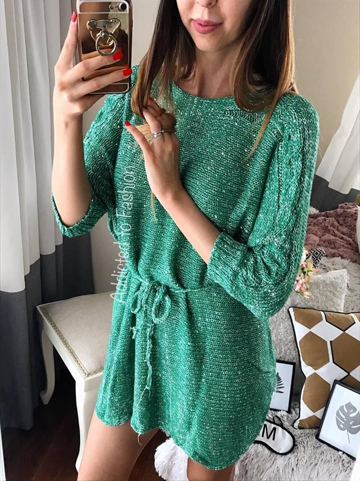 Pulover sclipicios de culoare verde