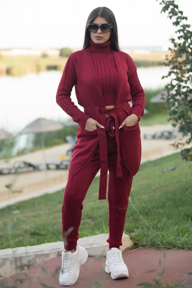 Trening dama 4 piese cardigan + pantaloni + maieu + body din tricot visiniu