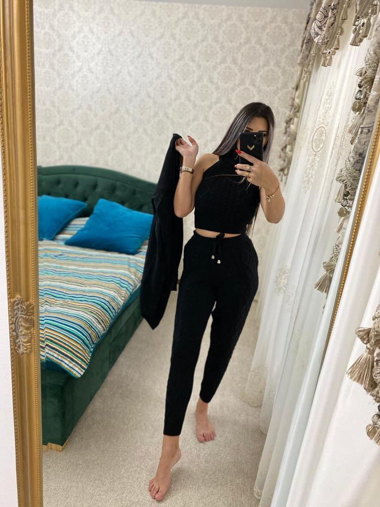 Trening dama 4 piese cardigan + pantaloni + maieu + body din tricot negru