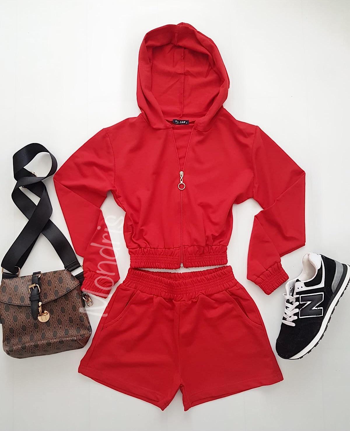 Compleu dama din bumbac rosu compus din pantaloni scurti si hanorac scurt