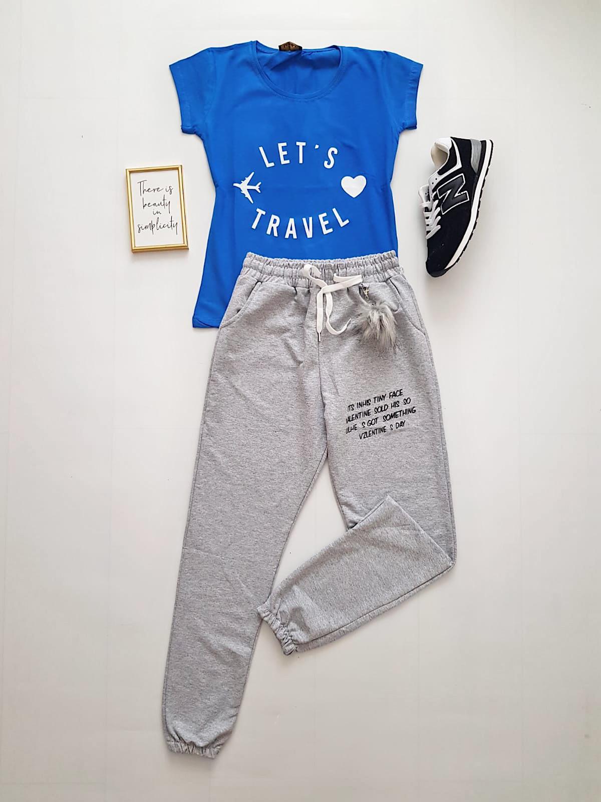 Compleu dama casual COMBO din pantaloni lungi gri puf + tricou albastru Travel
