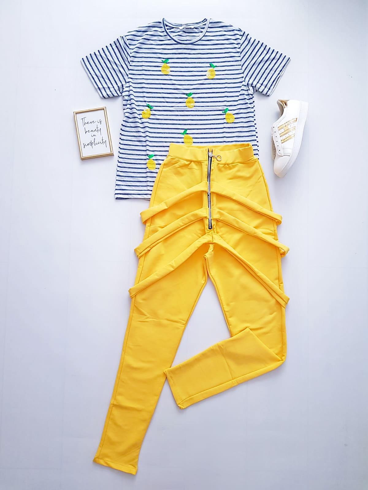 Compleu dama casual COMBO din pantaloni lungi vaga galben + tricou dungi Lemon