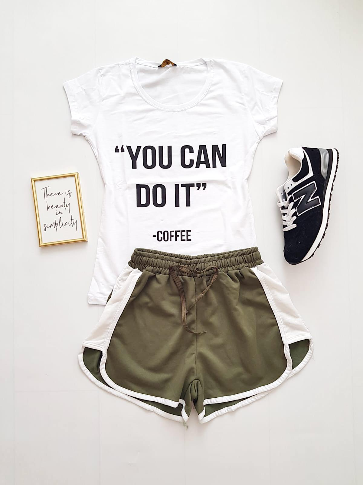 Compleu dama casual COMBO din pantaloni scurti kaki banda + tricou alb You can do it