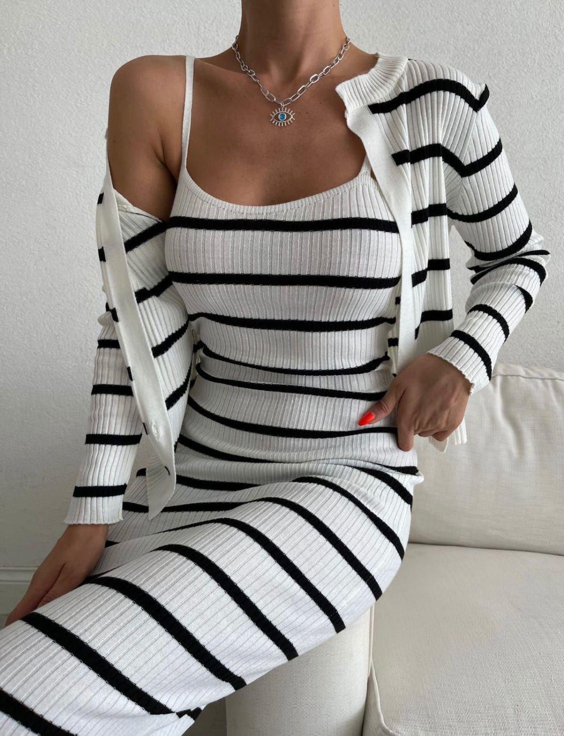 Compleu dama ieftin din tricot alb compus din rochie si pulover cu dungi