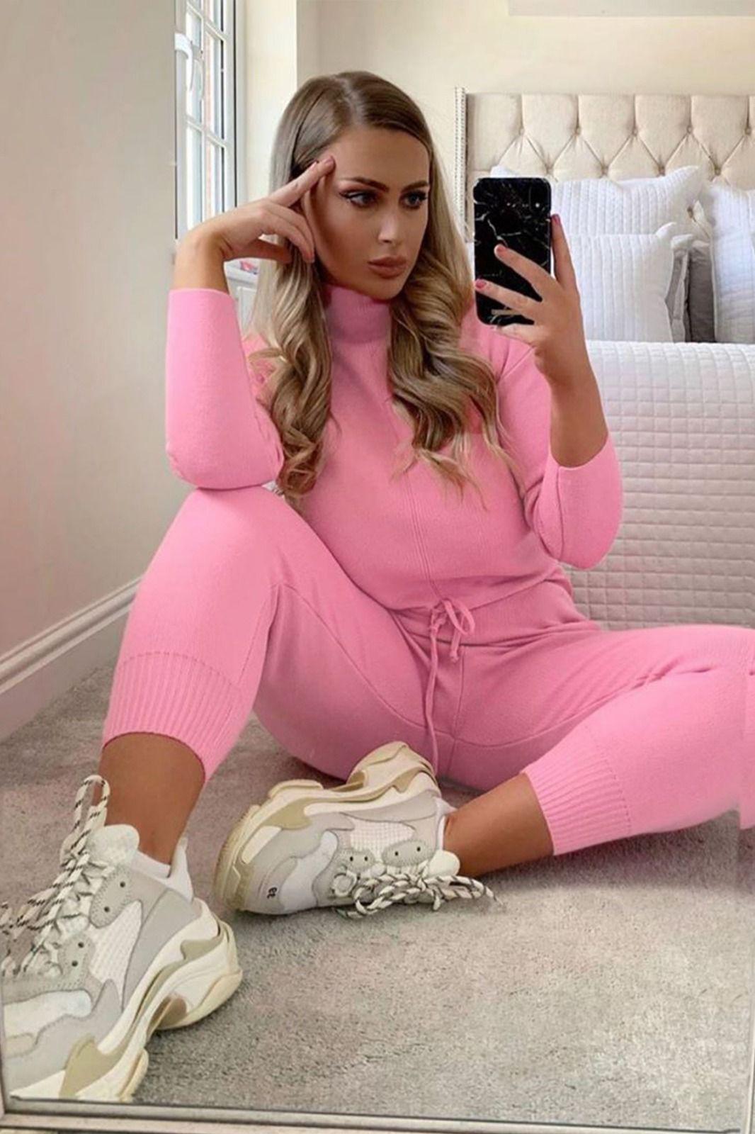 Compleu dama tricot roz inchis format din pantaloni lungi si pulover pe gat