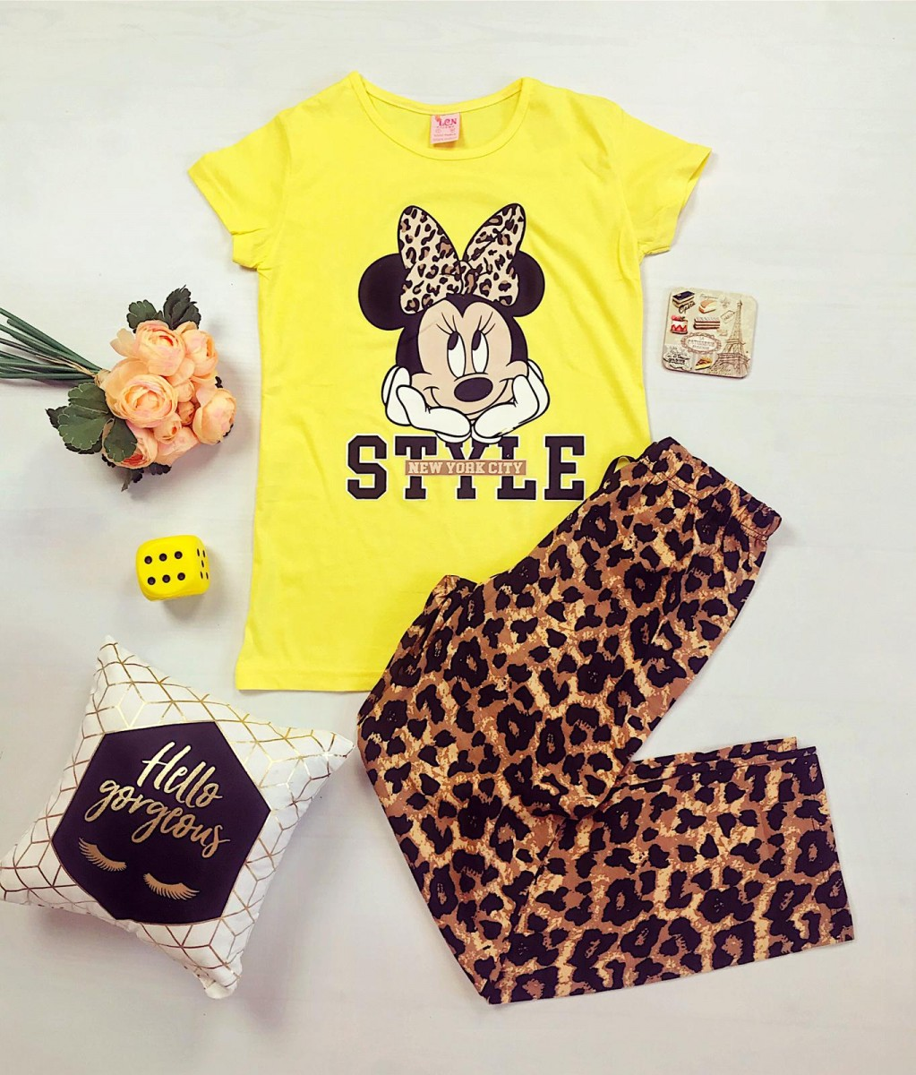 Pijama dama ieftina din bumbac cu pantaloni lungi animal print si tricou galben cu imprimeu MM Style