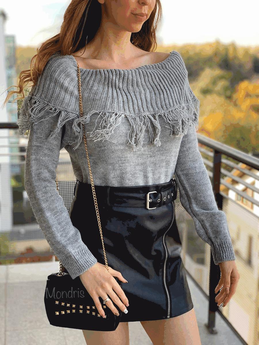 Pulover dama ieftin din tricot gri cu guler larg si franjuri