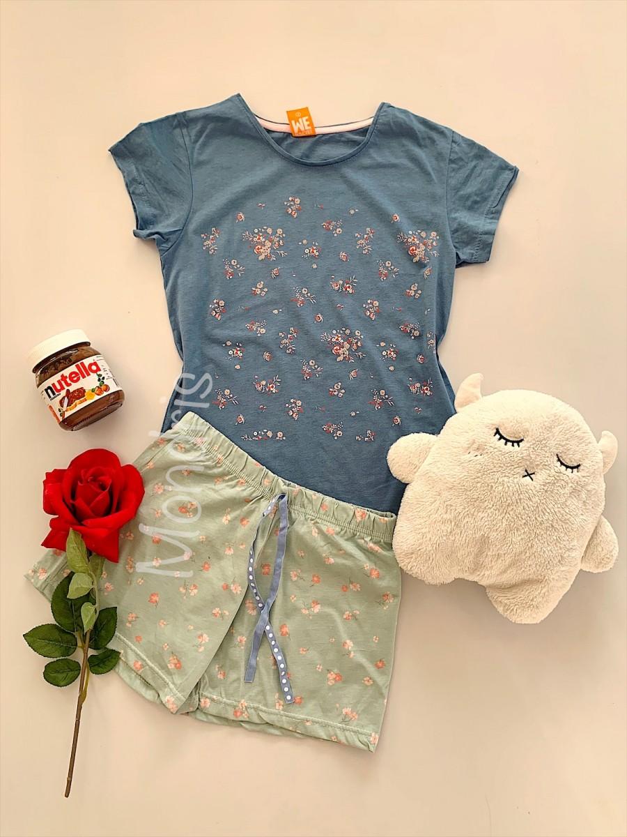 Pijama dama ieftina bumbac scurta cu pantaloni scurti gri si tricou albastru cu imprimeu Floricele imagine