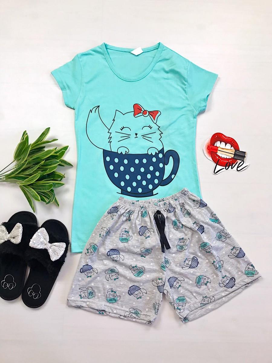 Pijama dama ieftina primavara-vara cu pantaloni scurti gri si tricou albastru cu imprimeu Cat in a Cup imagine
