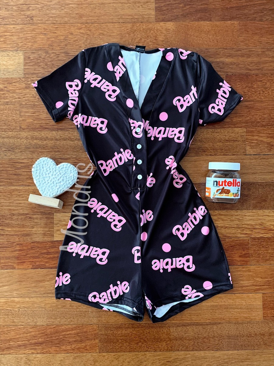 Pijama dama scurta tip salopeta neagra cu nasturi si imprimeu BR