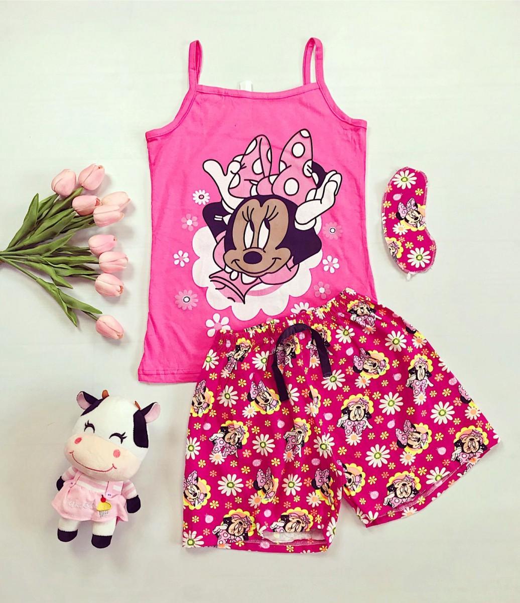 Pijama dama ieftina bumbac primavara vara cu maieu roz inchis si pantaloni scurti roz cu imprimeu MM & flori imagine