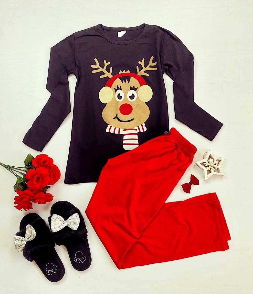 Pijama dama ieftina bumbac cu bluza cu maneca lunga neagra si pantaloni rosii cu imprimeu Ren