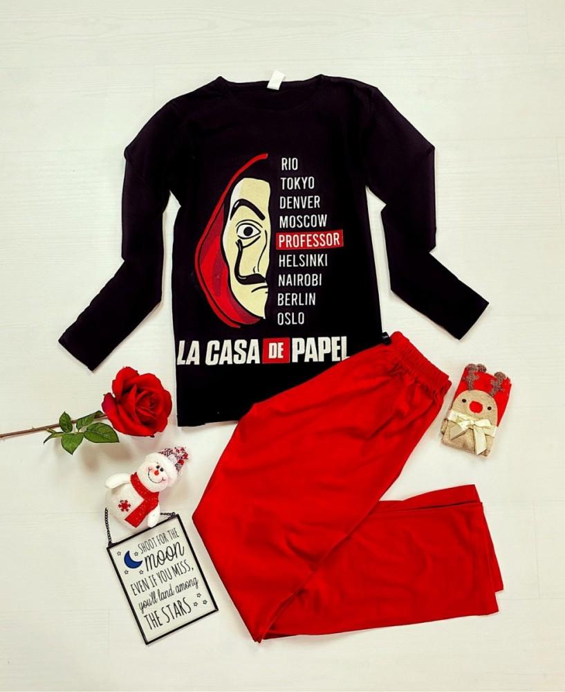 Pijama dama ieftina bumbac cu bluza cu maneca lunga neagra si pantaloni rosii cu imprimeu Professor