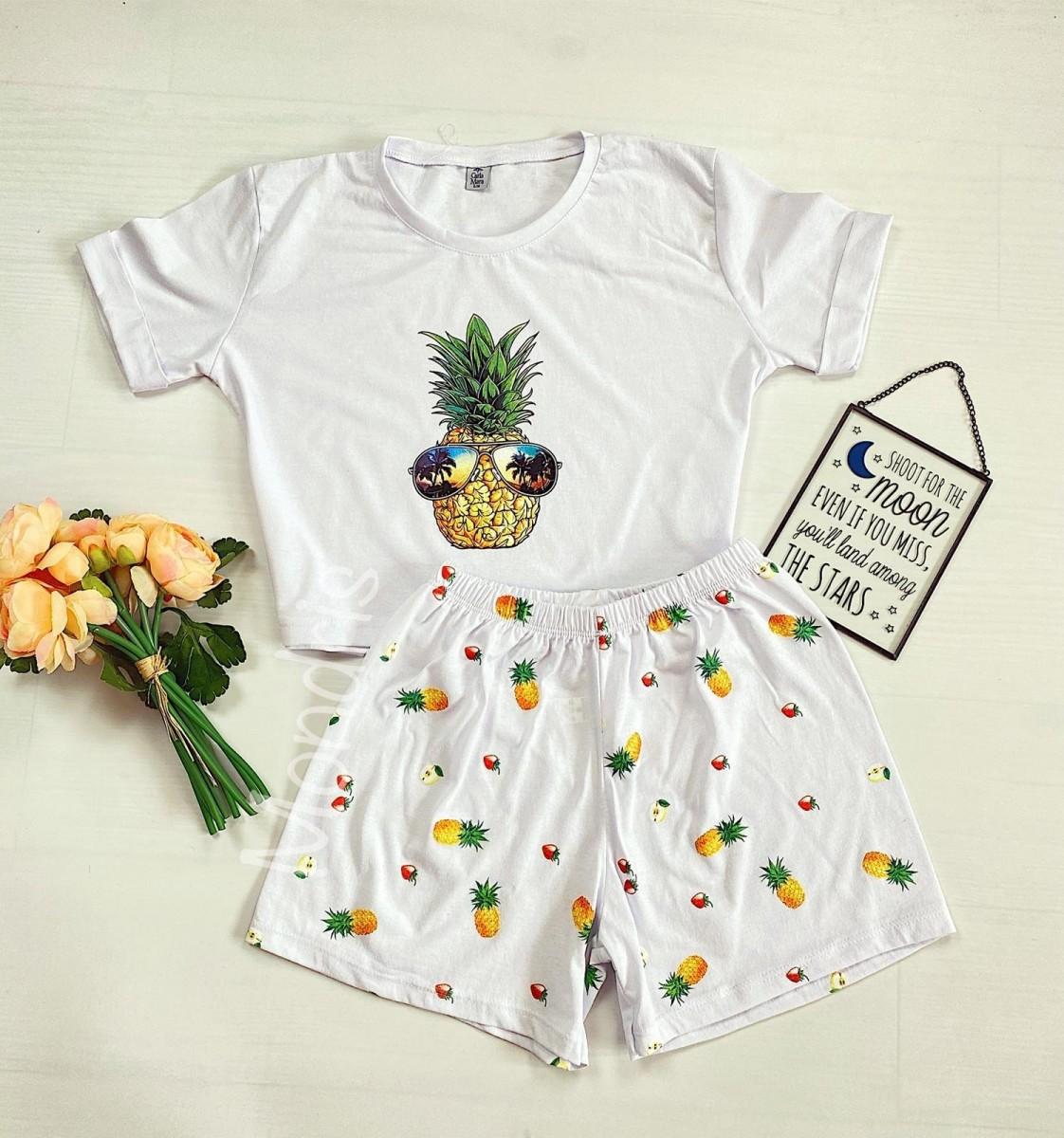 Pijama dama alba ieftina scurta cu tricou trendy si imprimeu ananas