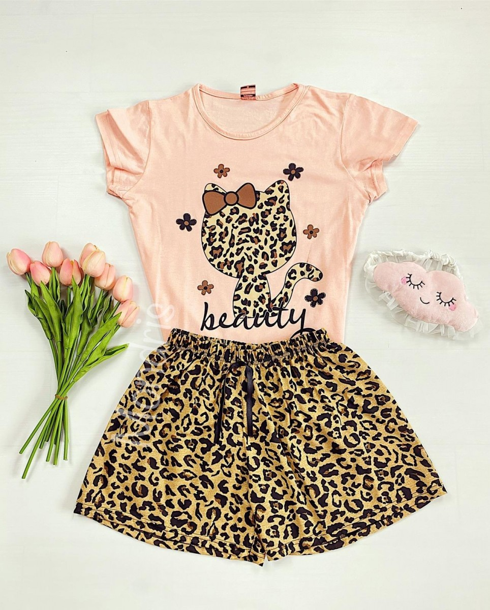 Pijama dama ieftina cu tricou roz si pantaloni scurti cu imprimeu HK animal print