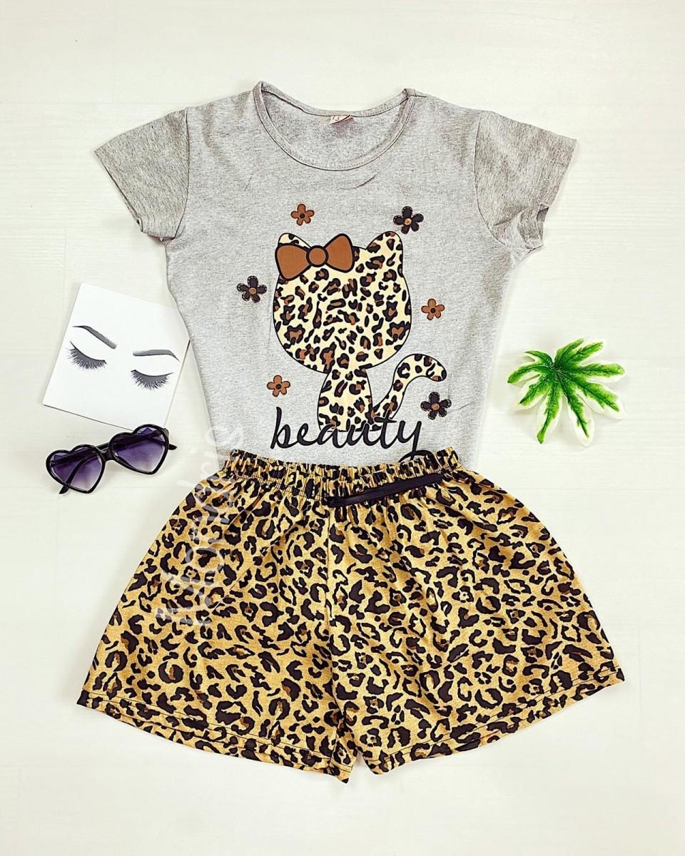 Pijama dama ieftina cu tricou gri si pantaloni scurti cu imprimeu HK animal print