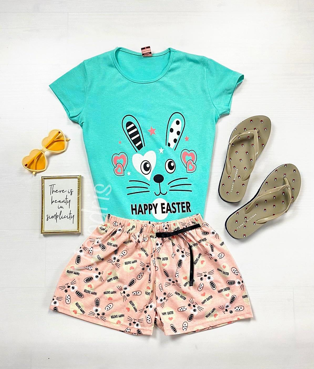 Pijama dama ieftina primavara-vara cu pantaloni scurti roz si tricou turcoaz cu imprimeu Happy Easter