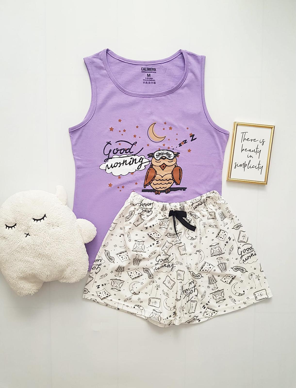 Pijama dama ieftina bumbac cu pantaloni scurti albi si maieu mov cu imprimeu Bufnita