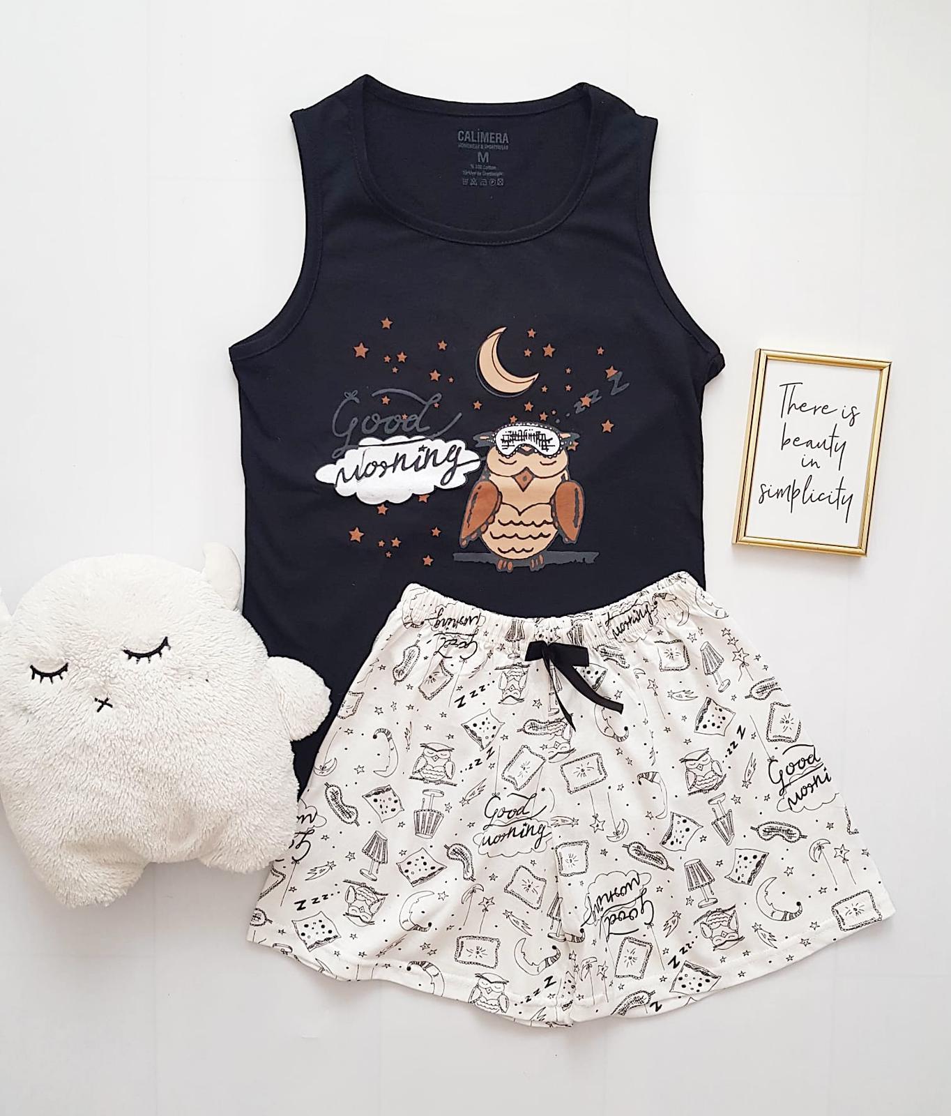 Pijama dama ieftina bumbac cu pantaloni scurti albi si maieu negru cu imprimeu Bufnita