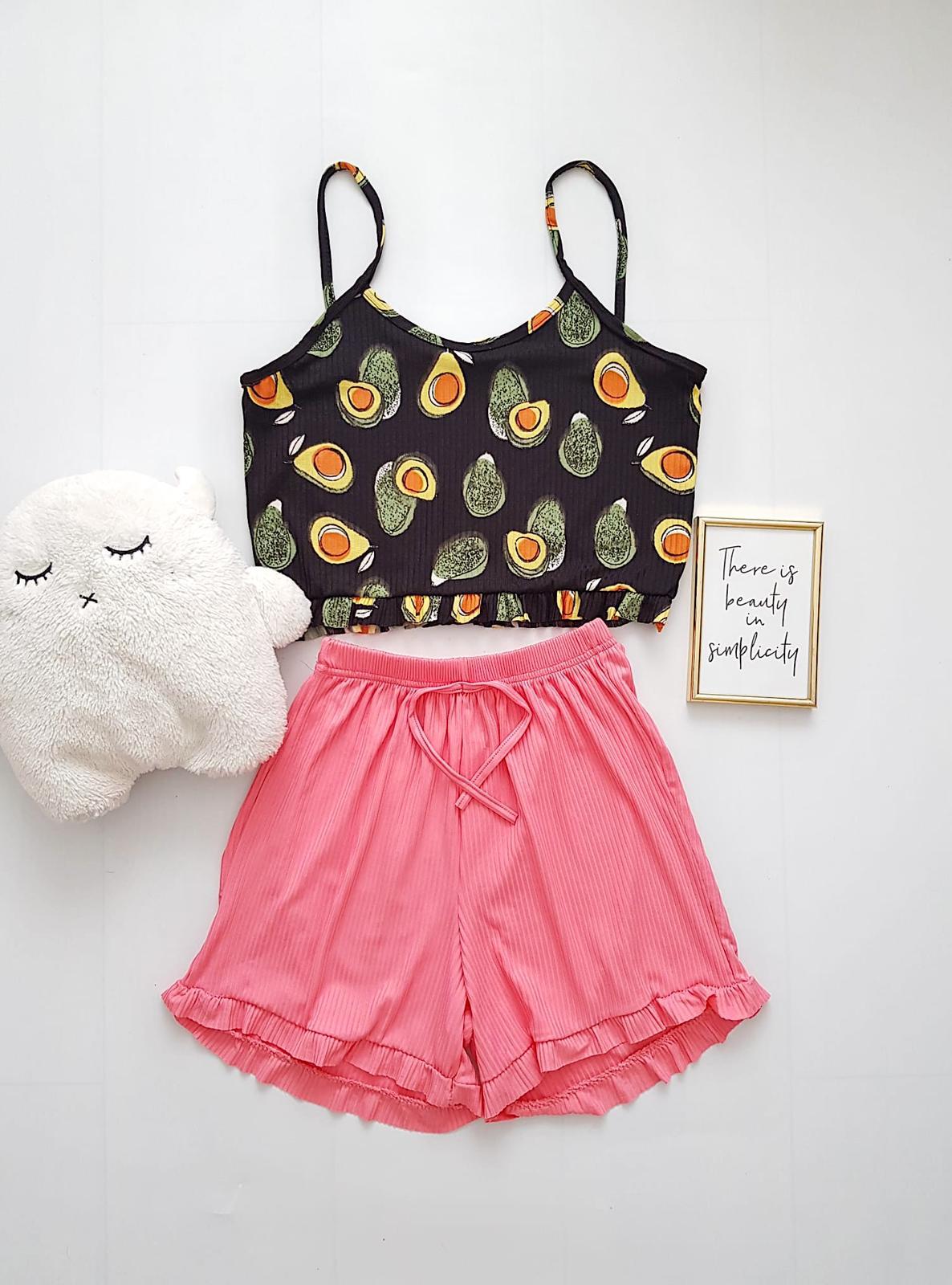 Pijama dama ieftina scurta cu maieu cu volanase Combo avocado negru + roz
