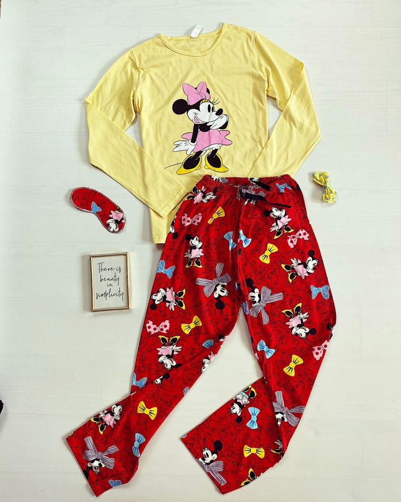 Pijama dama bumbac lunga cu pantaloni lungi si bluza cu maneca lunga galbena cu imprimeu MM flirt