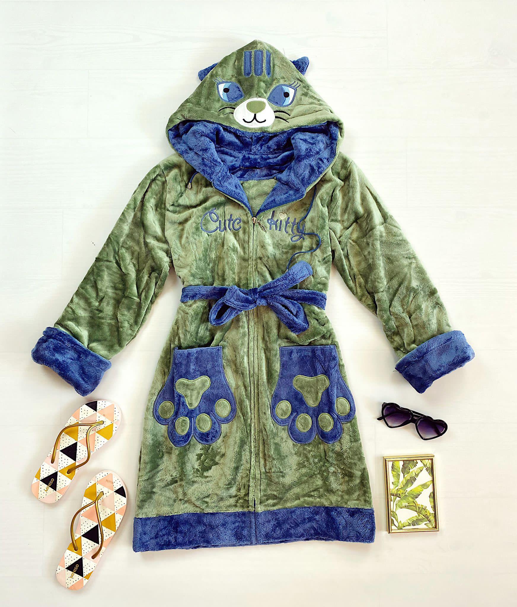 Halat dama ieftin plusat verde cu imprimeu bleumarin si pisica Cute Kitty