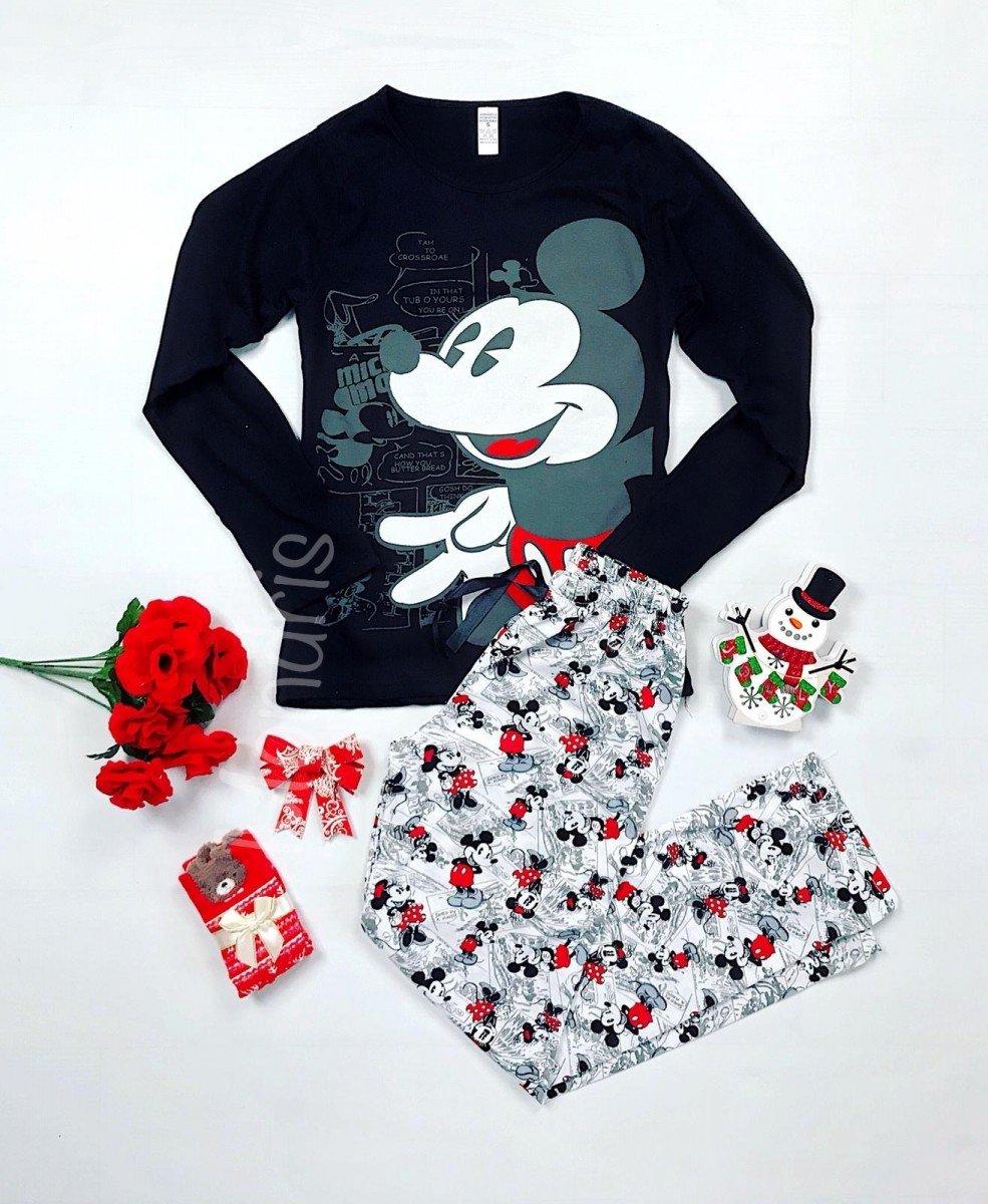 Pijama dama ieftina bumbac lunga cu bluza neagra cu maneca lunga si pantaloni lungi gri cu imprimeu MK Vintage imagine