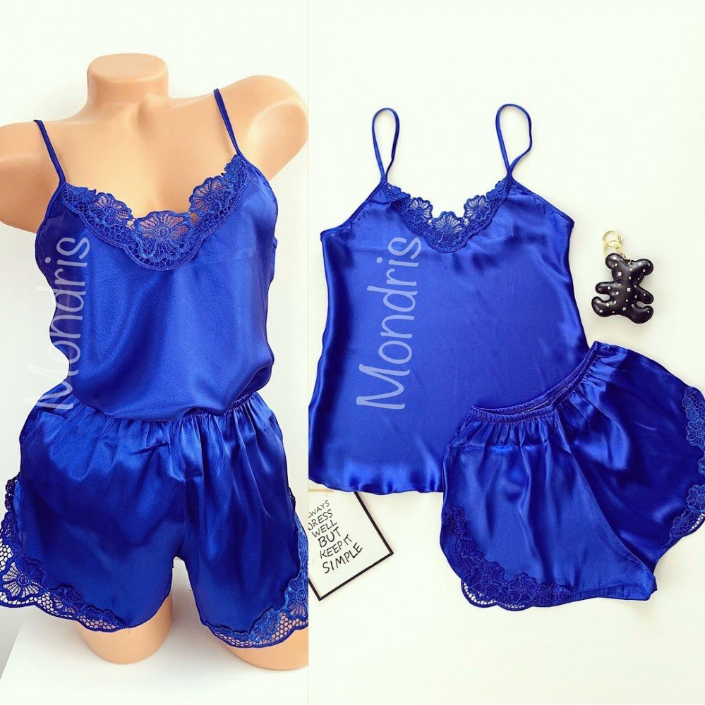 Pijama dama ieftina primavara-vara albastra din satin lucios cu model dantelat