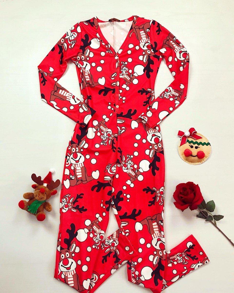 Pijama dama tip salopeta lunga rosie cu maneca lunga si imprimeu Rudolf