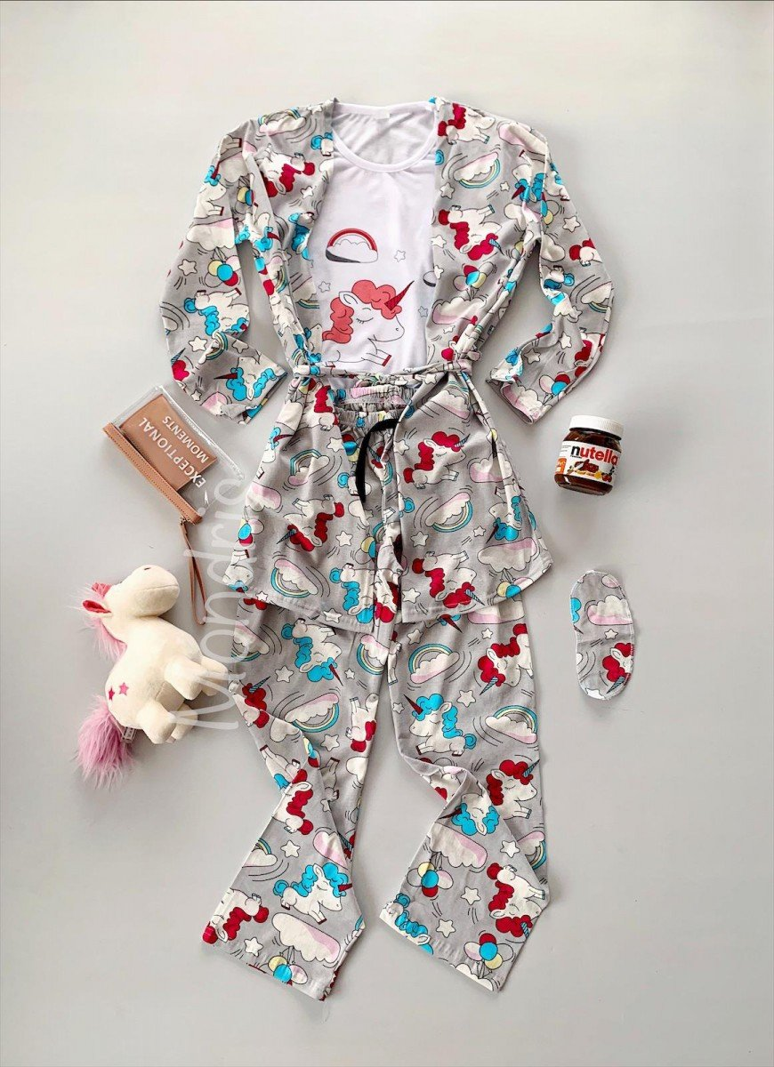 Pijama dama ieftina gri cu roz compusa din halat, tricou si pantaloni lungi cu imprimeu Unicorn