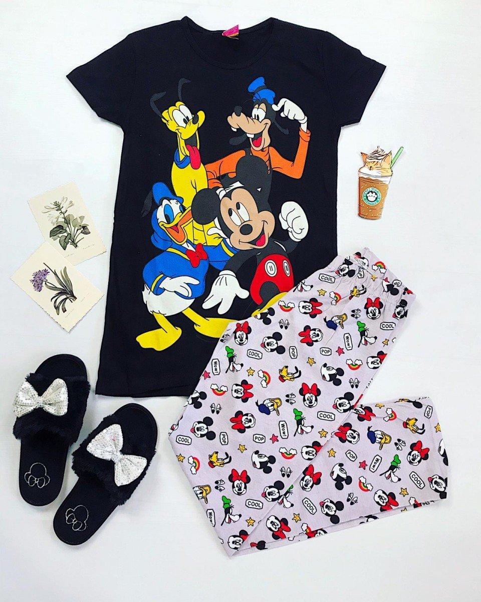Pijama dama ieftina primavara-vara cu tricou negru si pantaloni lungi gri cu imprimeu desene animate