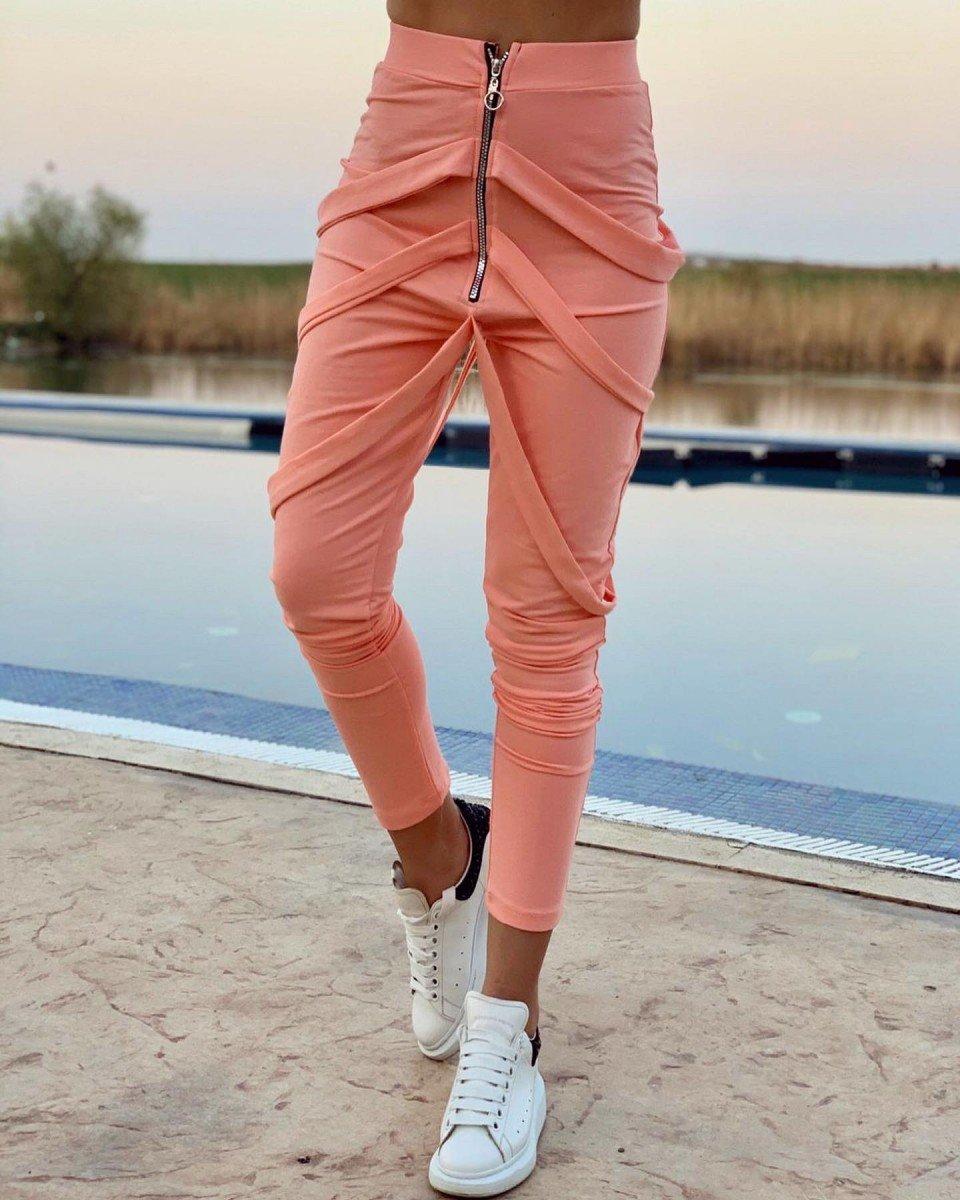 Pantaloni Dama Lungi Corai Cu Fermoar Si Bretele