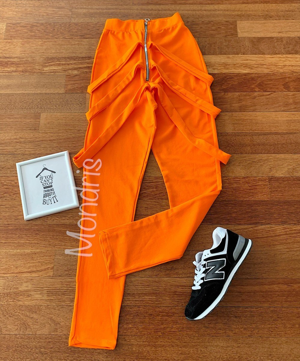 Pantaloni dama lungi portocalii cu fermoar si bretele