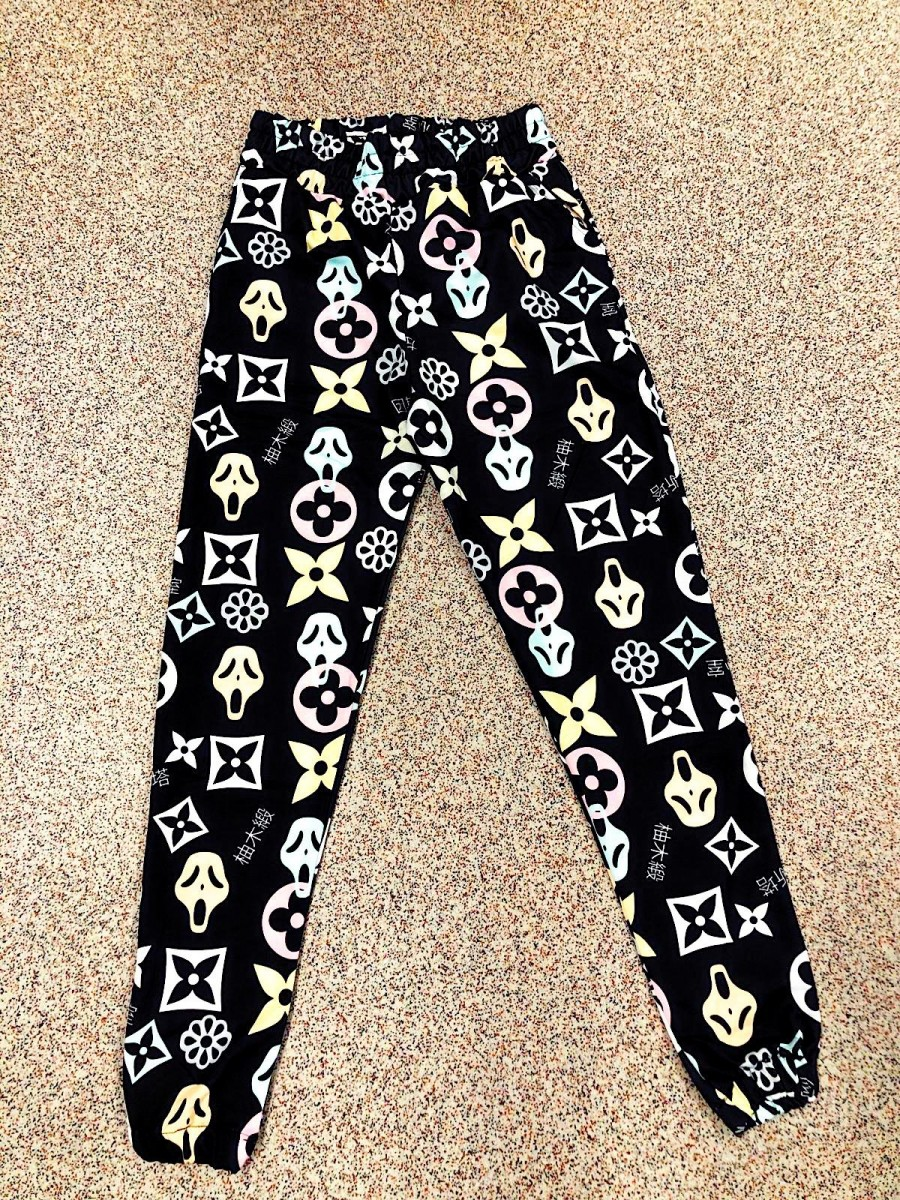 Pantaloni dama lungi negri tip colanti din bumbac cu imprimeu stelute