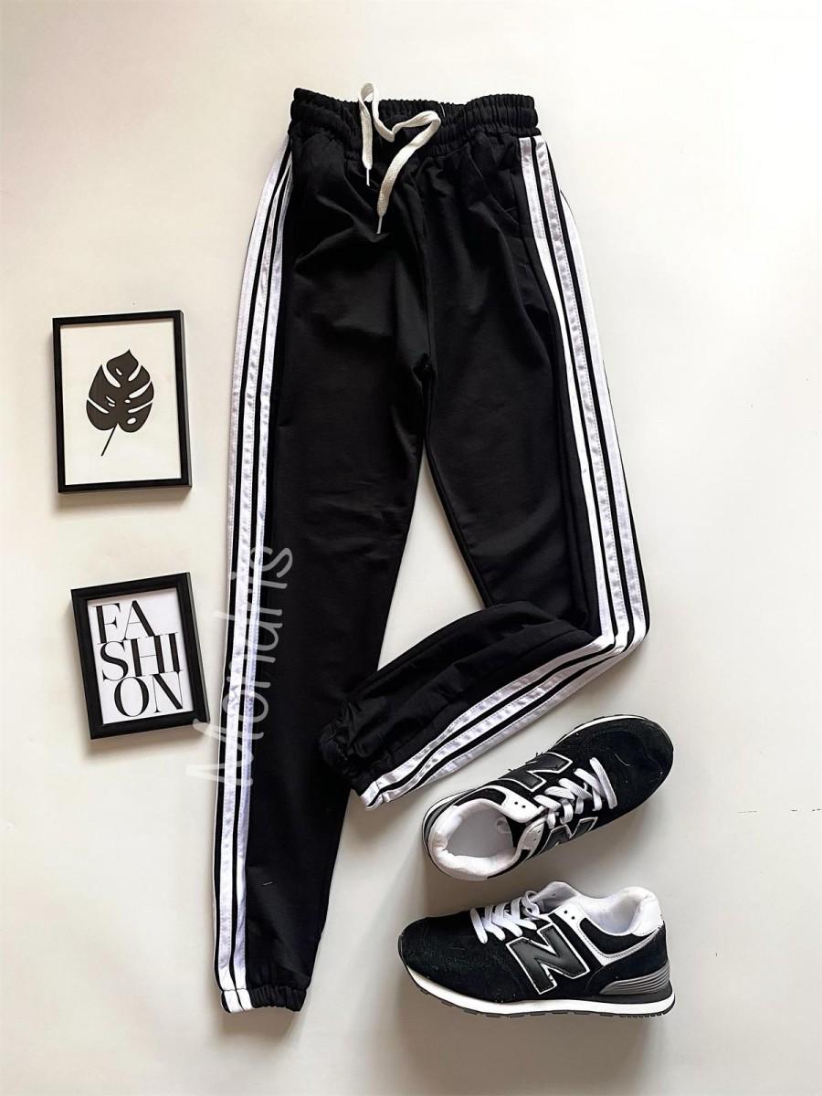 Pantaloni dama ieftini tip jogger negri cu dungi laterale albe