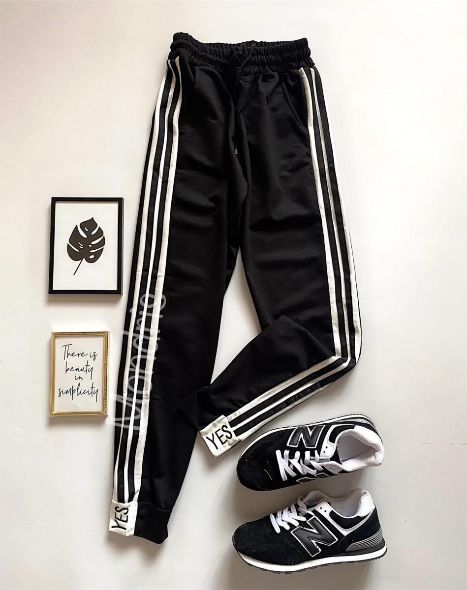 Pantaloni dama casual negri tip jogger cu dungi laterale negre si imprimeu YES